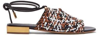 Salvatore Ferragamo Laino Woven Leather Sandals - Womens - White Multi