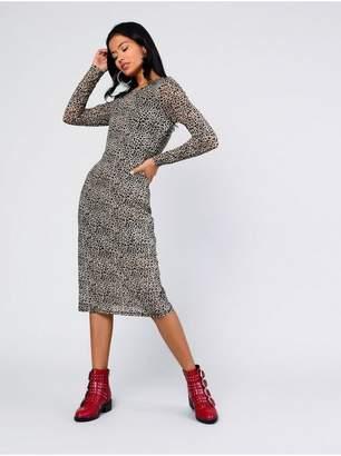 Topshop Womens **Animal Printed Midi Dress By Glamorous