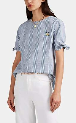 "Maison Labiche Women's ""Dragonfly"" Embroidered Checked Seersucker Blouse - Blue"