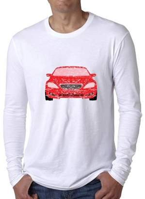 Hollywood Thread Red Race Car Unique Front View Silhouette Graphic Men's Long Sleeve T-Shirt