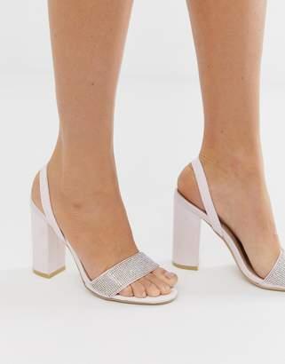 Be Mine Bridal Finoula blush satin embellished block heeled sandals