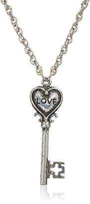 1928 Jewelry Antiqued Pewter Tone Heart Shaped Key Inscribed with Love Pendant Necklace