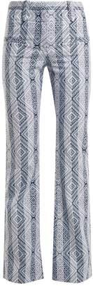 Serge diamond-jacquard cotton-blend trousers