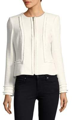Karl Lagerfeld Paris Fringe-Framed Zip Jacket