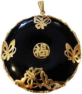 One Kings Lane Vintage Dark Green Jade & 14K Gold Pendant