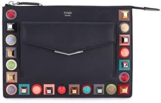 Fendi Mini Studded Leather Zip Pouch