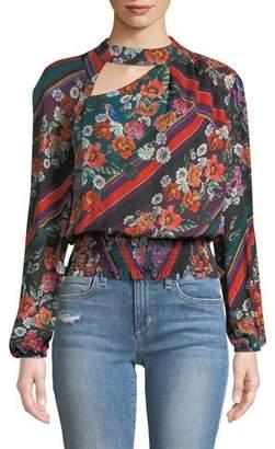 Parker Gavin Cutout Floral Long-Sleeve Blouse