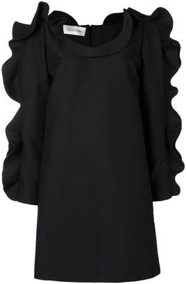 Valentino puffed ruffle sleeve cocktail dress