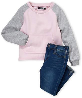Joe's Jeans Infant Girls) Two-Piece Raglan Fleece Pullover & Jeans Set