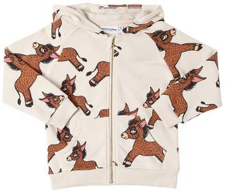 Mini Rodini Donkey Print Hooded Cotton Sweatshirt