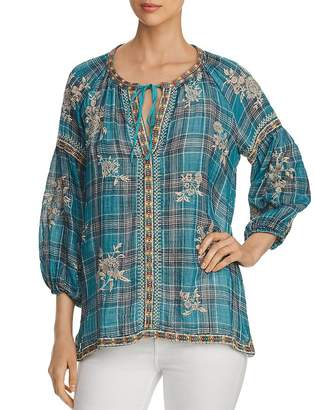 Johnny Was Sophia Embroidered Plaid Peasant Top