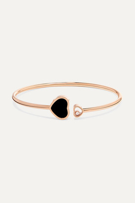 Chopard Happy Hearts 18-karat Rose Gold, Diamond And Onyx Cuff