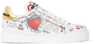 Dolce & Gabbana White All Over Graffiti Sneakers