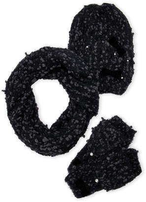 Betsey Johnson 3-Piece Scarf Beanie & Mitten Gift Set