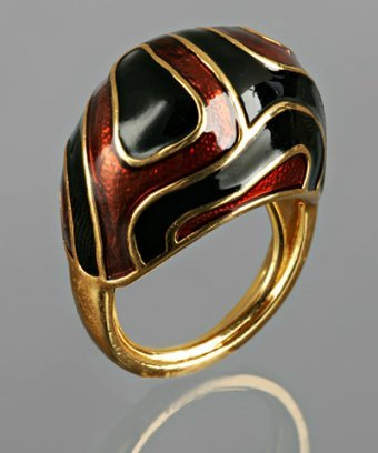 Kenneth Jay Lane amber and black swirl enamel ring