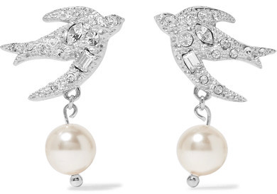 Miu Miu Miu Miu - Silver-tone, Crystal And Faux Pearl Earrings - one size