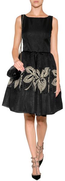 RED Valentino Dotted Silk Dress Black