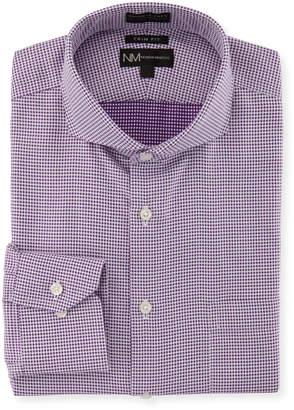 Neiman Marcus Trim-Fit Non-Iron Dobby-Check Dress Shirt