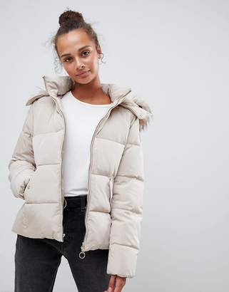 Only Rhonda Down Quilted Jacket with Faux Fur Trim