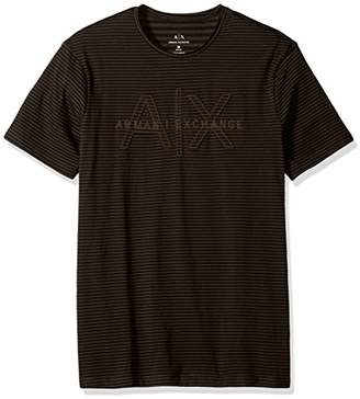 Armani Exchange A|X Men's Striped Crew Neck Tee with Sewn Logo
