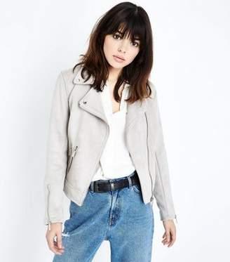 New Look Pale Grey Suedette Biker Jacket