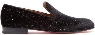 Christian Louboutin Rollerboy Velvet Glitter Loafers - Mens - Black