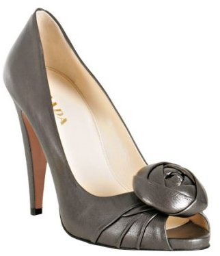 Prada graphite metallic leather  rose detail peep toe pumps
