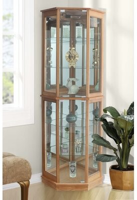 Andover Mills Biali Lighted Corner Curio Cabinet