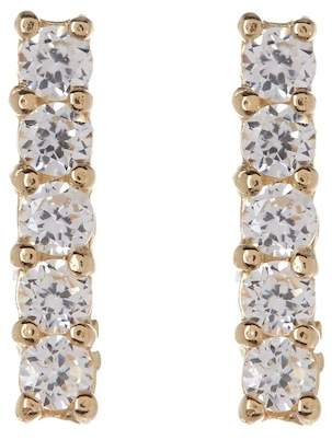 Candela 14K Yellow Gold Pave CZ Bar Stud Earrings