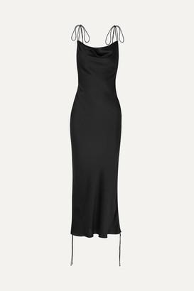 Orseund Iris Ruched Satin Dress - Black