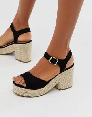 301002a724e Head Over Heels By Dune Kace Exclusive black jute cross strap heeled  espadrille wedge sandals