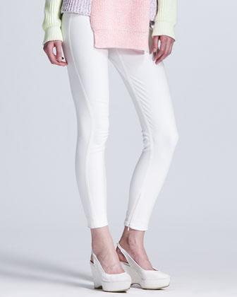 Stella McCartney Back-Zip Leggings, White