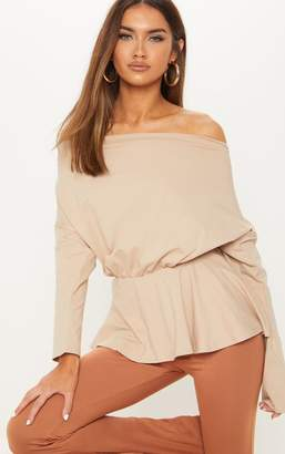 PrettyLittleThing Nude Off The Shoulder Slouchy Peplum Top