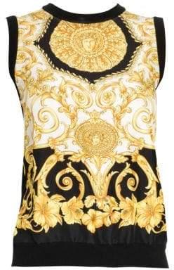 Versace Women's Hibiscus Print Silk Top - Black Gold - Size 36 (0)