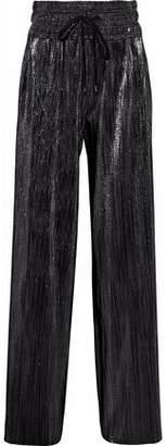 Pierre Balmain Metallic Plissé-Jersey Wide-Leg Pants