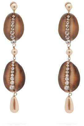 Etro Shell, Crystal And Faux Pearl Drop Earrings - Womens - Brown