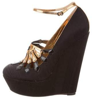 John Galliano Round-Toe Ankle Strap Wedges
