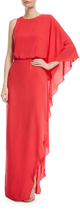 Halston Flowy One-Shoulder Gown w/ Back Cowl