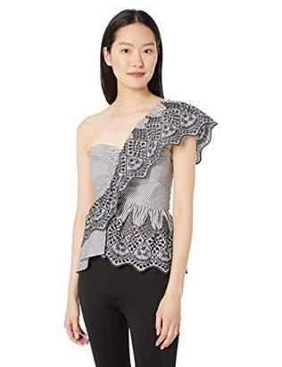 BCBGMAXAZRIA Women's One Shoulder Embroidered Peplum Top