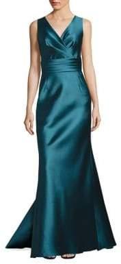 Liancarlo V-Neck Sleeveless Satin Gown