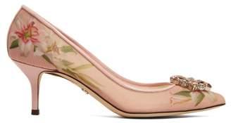 Dolce & Gabbana Bellucci Lily Print Mesh Pumps - Womens - Pink Multi