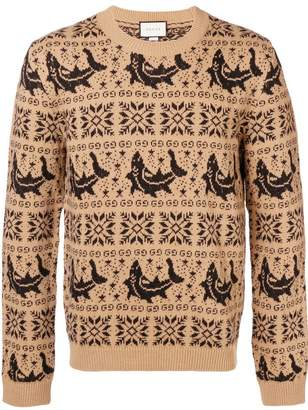 Gucci embroidered long-sleeve sweater