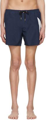 Moncler Gamme Bleu Navy Contrast Swim Shorts $545 thestylecure.com