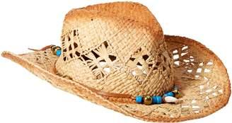 Ale By Alessandra 'ale by alessandra 'ale by alessandra Women's Waimea Raffia Cowboy Hat With Beaded Leather Trim