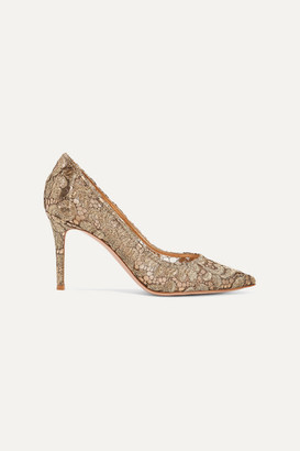 Gianvito Rossi 85 Leather-trimmed Metallic Guipure Lace And Mesh Pumps - Gold