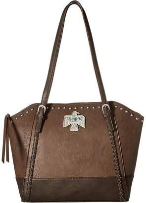 American West Guns and Roses Large Zip Top Tote Tote Handbags