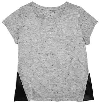 Aqua Girls' Marled Tee With Faux-Leather Panels, Big Kid - 100% Exclusive