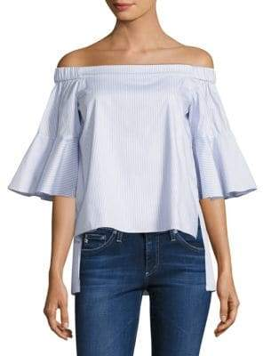 Shane Striped Off-The-Shoulder Bell-Sleeve Cotton Top