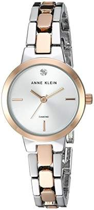 Anne Klein Women's Diamond-Accented Silver-Tone and Rose Gold-Tone Bracelet Watch