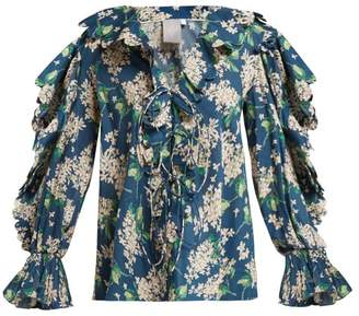 Horror Vacui Celestine Scalloped Cotton Blouse - Womens - Navy Multi